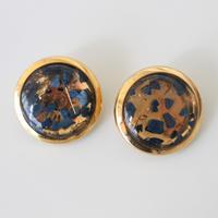【ボタンセット】france vintage  クリアゴールドボタン2個 132