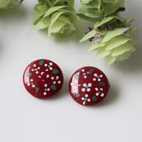 【ボタンセット】france vintage ガラスボタン濃赤花 2個セット フランス