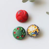 【ボタンセット】france vintage 3個set フランスガラスボタン