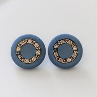 【ボタンセット】france vintage チェーンボタンblue 2個セット 23㎜  365
