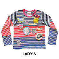 HORIZONTAL BLANKING PERIOD. グラフィックワッペン付きボーダーTシャツ(長袖) Lady's