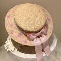 フラワーブリムカンカン帽 ピンク