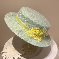 ミントイエローふんわりカンカン帽