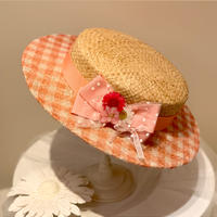 ギンガムフラワーカンカン帽 (サーモンピンク)