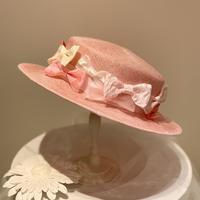 おリボンいっぱいカンカン帽 ピンク