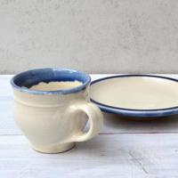 出雲 出西窯 コーヒー碗皿  白x呉須