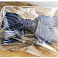 ふわくしゅリボンヘアアクセサリー001/紺色(ネイビー)ストライプ/1点もの