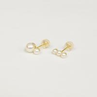 RECOMMEND SET【K10 pearl rivets single pierce / K10 three pearls single pierce】