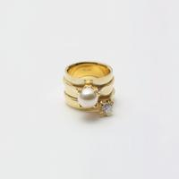ring motif ring (pearl / cubiczirconia/gold)