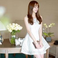 韓国ドレス お姫様 ワンピース ノースリーブ 花柄模様 ミニワンピ F0041701