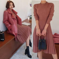 ニットワンピース 韓国ワンピース ニットプリーツスカート 可愛い 暖かい 秋冬 FS075201