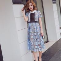 花柄シースルー お姫様ワンピース ミモレ丈 膝丈 韓国ワンピース FS028601