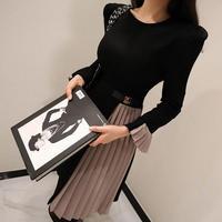 ミモレ丈ワンピース 韓国ワンピース プリーツスカート 可愛い バイカラー 秋冬 フリル袖 FS094201