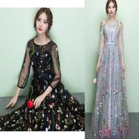 韓国 花柄 ボタニカル 刺繍 シースルー フルレングスドレス マキシワンピース FS030901