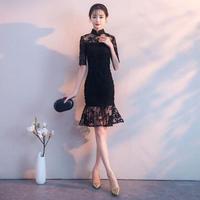 韓国ワンピース マーメイドライン ハイネック 美しい パーティードレス 結婚式 食事会 FS062701