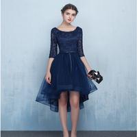 韓国 ドレス レース フィッシュテール エレガント パーティー ワンピース ネイビー FS014301