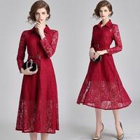 ミモレ丈ワンピース 韓国ワンピース 花柄レース 上品 美しい 深紅 華やか 襟付き FS088701