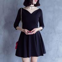 ワイド Vネックワンピース 七分袖 OL 大人女子 通勤 黒 ブラック カジュアル フォーマル FS004801