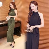 サロペット オールインワン 韓国ファッション カーキー ネイビー ノースリーブ ホルターネック FS011301
