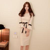 結婚式 二次会 ドレス フェミニン プリーツ エレガント リボン ワンピース ベージュ 韓国ドレス  FS015101