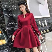 韓国ワンピース 韓国ドレス 襟 可愛い フレアワンピース ハイウエスト お呼ばれ FS104901