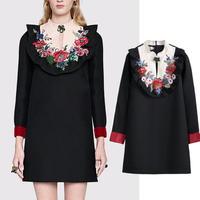 フォークロア セレブ 花柄刺繍 長袖 ワンピース 黒 ブラック ドレスワンピ FS017701