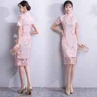 韓国ワンピース チャイナドレス 花柄刺繍 ハイネック シースルー レース模様 美しい 可愛い FS064501