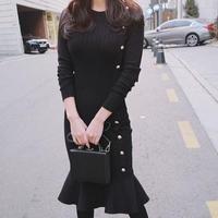 ニットワンピース 韓国ワンピース マーメイドライン 無地 可愛い 暖かい 秋冬 FS076201