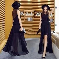 パーティードレス 韓国ワンピース ロングドレス マキシワンピ アシンメトリー シフォン FS019601