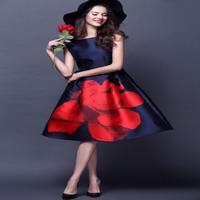 韓国ドレス ノースリーブ ワンピース 大輪 レッドフラワー ネイビー 薔薇 FS012901