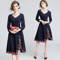 パーティードレス 韓国ワンピース 花柄刺繍 フレアスカート エレガント Vネック 可愛い FS085701