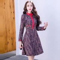 パーティードレス 韓国ワンピース フレアスカート ネックリボン ミックスカラー 個性的 可愛い FS078701
