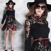 韓国 パーティードレス ワンピース 花柄 レトロ Aライン セレブ ブラック FS028901