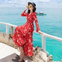 マキシワンピース 韓国ワンピース フィッシュテールスカート ロング丈 花柄デザイン FS070201