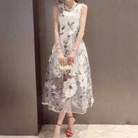 韓国ワンピース 花柄 ミモレ丈 オーガンジードレス 清楚 結婚式 二次会 FS015401