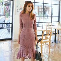 韓国 フェミニン 花柄 ワンピース 裾フリル レース 長袖 ピンク FS012801