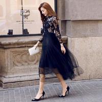 ロングワンピース ロングドレス シック ブラック 花柄 レース 刺繍 ドレスワンピ FS002201