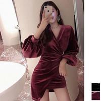 キャバドレス 韓国ドレス 韓国ワンピース Vネック ミニスカ お呼ばれ 夜遊び FS106001
