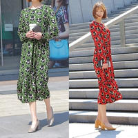 マキシワンピース 長袖 レトロ 花柄 可愛い 韓国ワンピース ロング丈 グリーン レッド FS041401