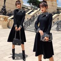 パーティードレス 韓国ワンピース 黒フレアスカート ストライプ柄 可愛い デコルテ リボン ハイネック 個性的 FS077101