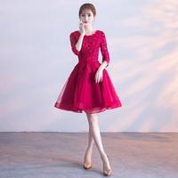 韓国ワンピース フレアスカート 可愛い 花柄刺繍 パーティードレス ナイトシーン お呼ばれ FS066001