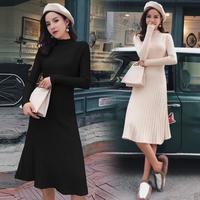 秋冬 韓国ドレス 韓国ワンピース プリーツスカート 可愛い シンプル FS107401