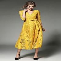 韓国ワンピース 花柄 黄色 イエロー マキシワンピース ロングワンピ パーティードレス Vネック 7分袖 FS007901