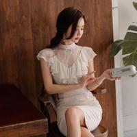 パーティードレス 韓国ワンピース シフォンレース フリル スリム お嬢様スタイル FS075601