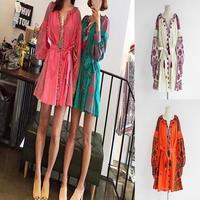 エスニック 民族柄 刺繍 フリンジ ワンピース 韓国ファッション グリーン オレンジ ベージュ ピンク FS014001