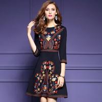 オリエンタルデザイン 7分袖 ワンピース 花柄刺繍  Aラインワンピ FS045601