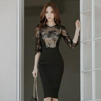 レディース ドレス 韓国ワンピース 花柄 セクシー グラマラス 食事会 パーティー FS091701