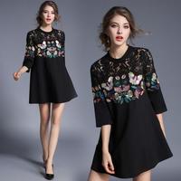 花柄 刺繍 レース 七分袖 ワンピース 黒 ブラック ドレス 個性的 ゆったり FS001701
