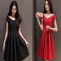 韓国ドレス 韓国ワンピース 結婚式 パーティー お呼ばれ イブニングドレス 美ライン 通勤 OL 黒 赤 ブラック レッド FS014701