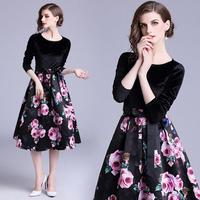 パーティードレス 黒ワンピース 花柄模様 可愛い フレアスカート FS088301
